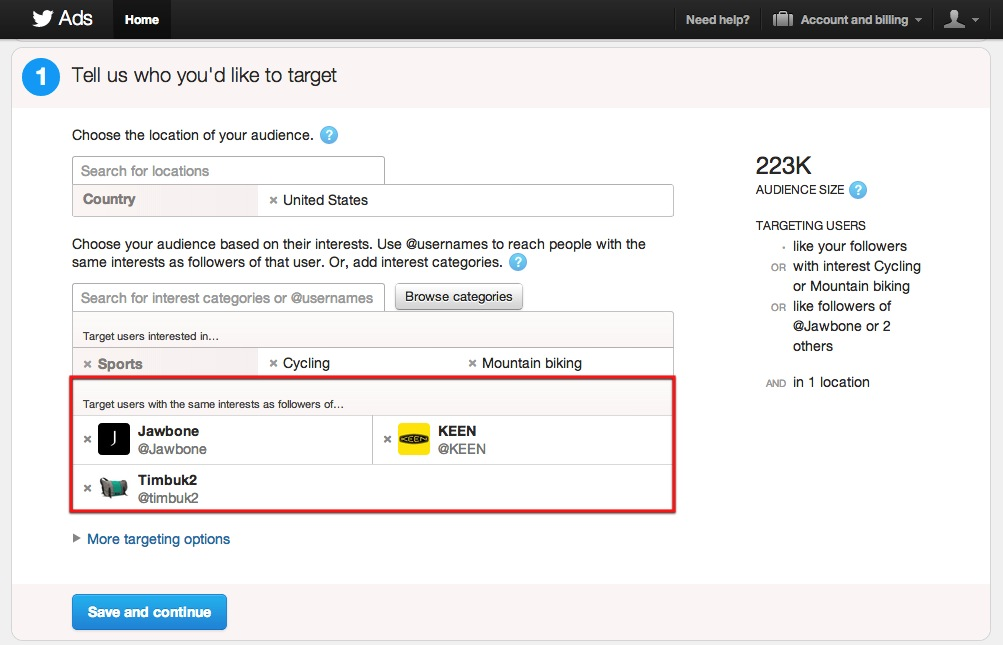 Twitter Advertising Category Interest Targeting 2