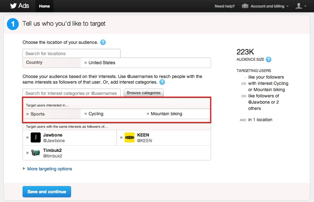 Twitter Advertising Category Interest Targeting