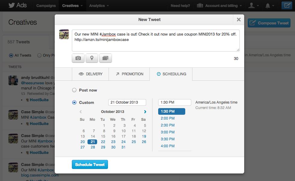 Twitter Ads Scheduled Tweets