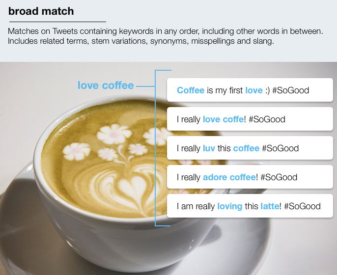Twitter Broad Match Keyword Targeting Example