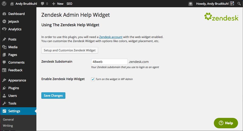 Zendesk WordPress Plugin Plugin Settings
