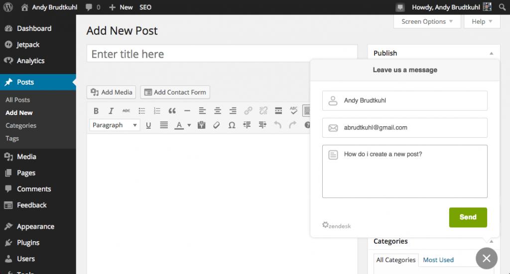 Zendesk WordPress Plugin Send Message