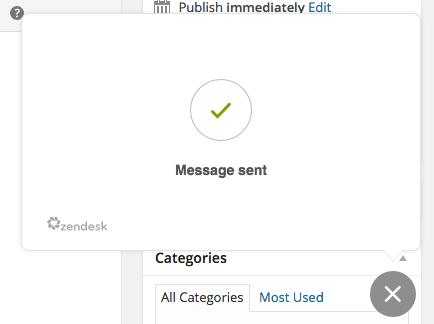 Zendesk WordPress Plugin Message Sent