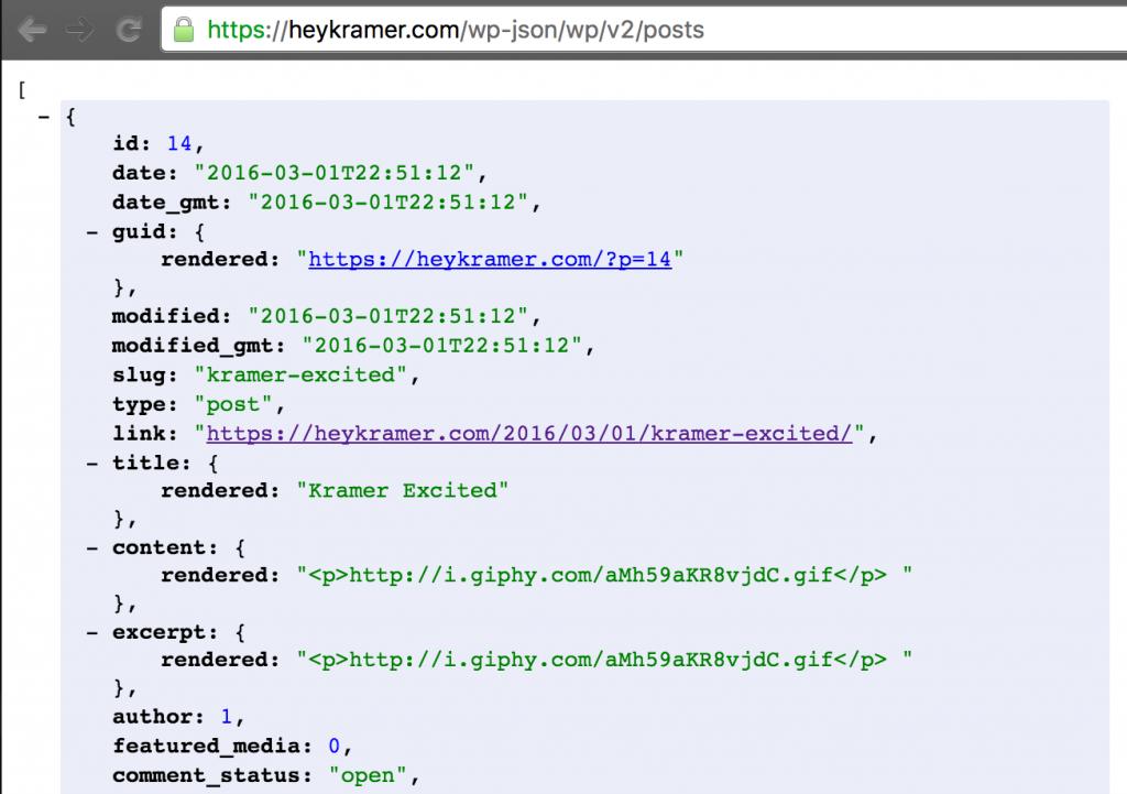WordPress REST API JSON Output